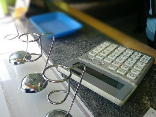 机の上の電卓